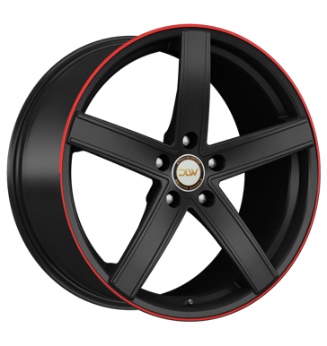 tyre - 8.5x19 5x120 ET42 Deluxe Wheels Uros schwarz schwarz matt Akzentring rot lackiert Tire racks Rims / Alu ADVANTI Light trucks full year from 17.5